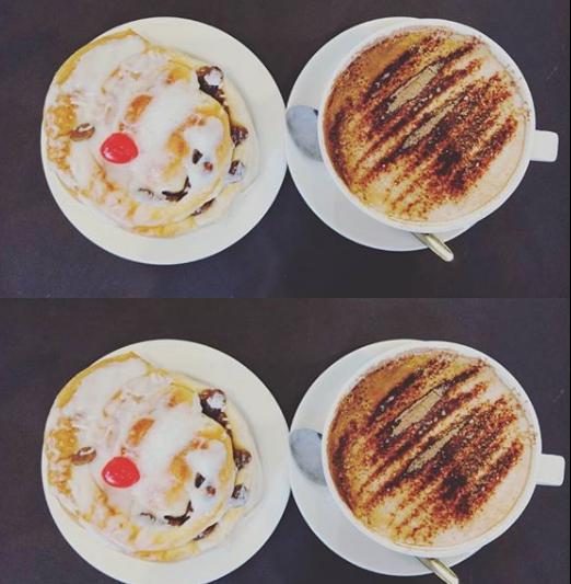 Belgium bun and cappuccino