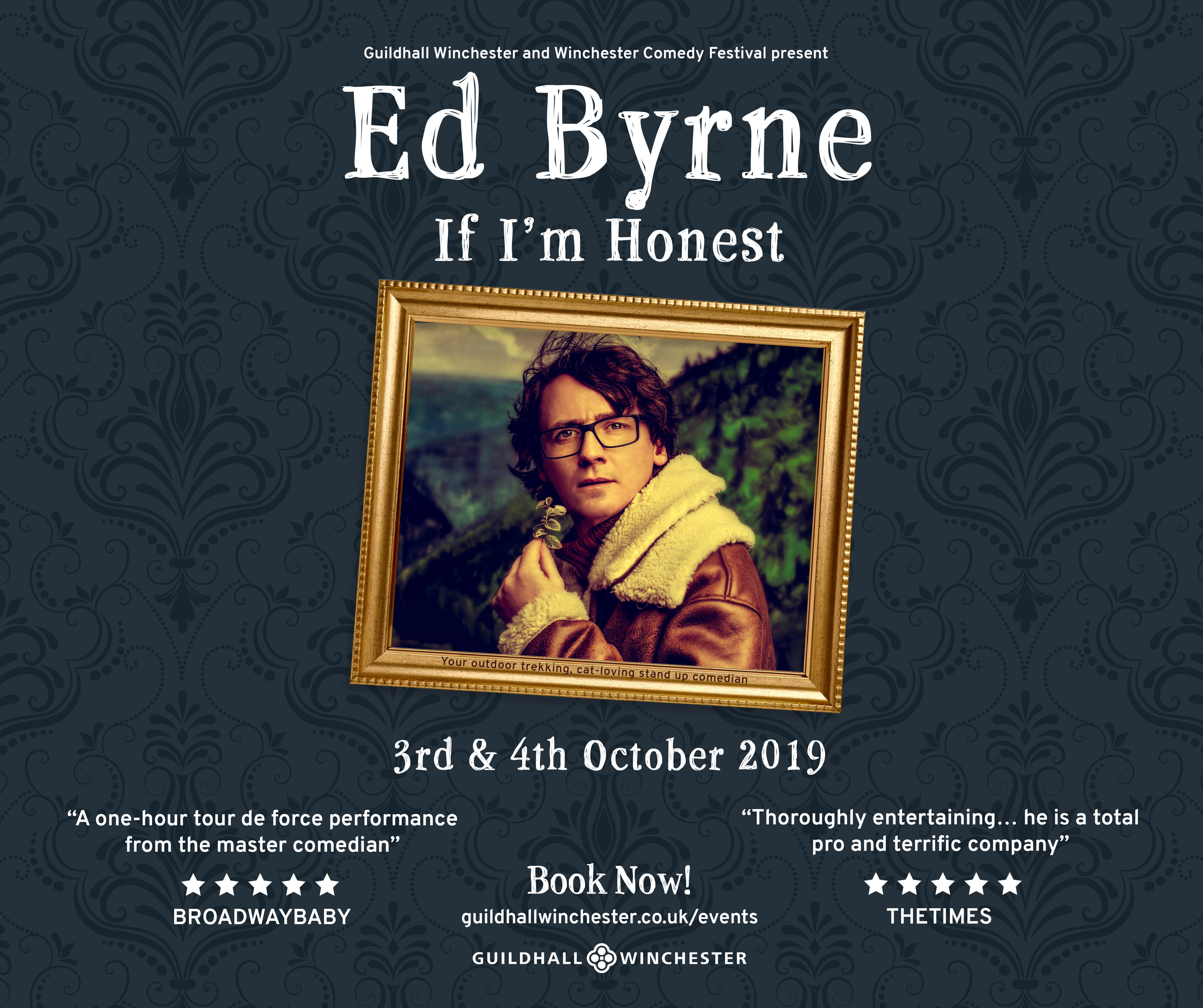 A poster for Ed Byrne comedy night - Guildhall winchester 3rd & 4th October