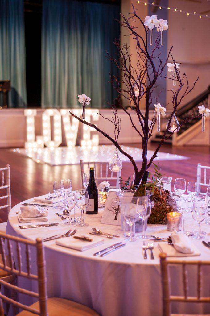 Wedding reception with winter garden theme